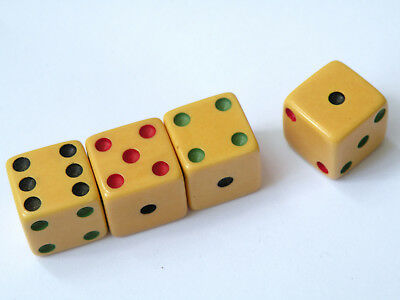 """Rare set of 4 tri colored bakelite dice black green red pips 9/16"""" NOT inlaid"""