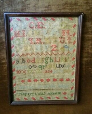 Less $ Antique Sampler 1862 Civil War Era Barbara Elizabeth Seipel Pennsylvania