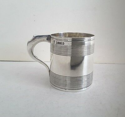 Nice Small Georgian Reeded Ant. Solid Silver Mug.    R. Hennell.    Lon.1797.