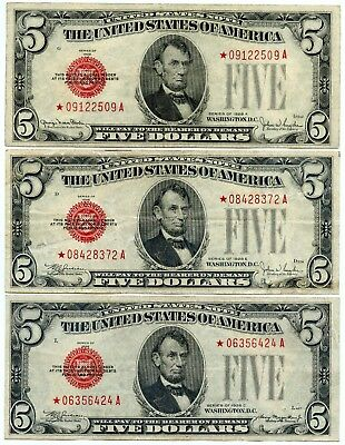Genuine Series 1928-C, 1928-E, & 1928-F Read Seal $5 Star Notes | VF Details