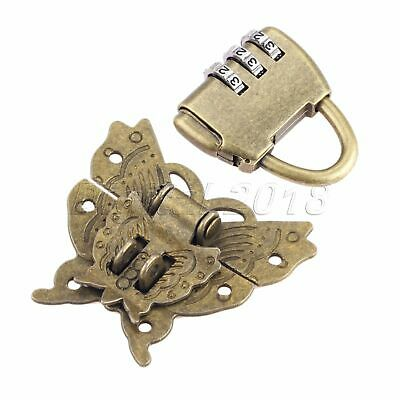 Antique Bronze Hardware Password Padlock Lock Key with Butterfly Box Latch Clasp