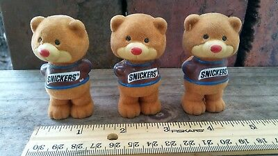 Set of 3 Cute 1987 Candy Bar Flocked Bears, Snickers, NOS