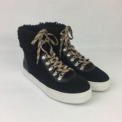 0ae8750df6ac Sam Edelman Luther High Top Sneaker Sz 9.5 Suede Shearling Black Shoes  Womens