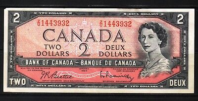 Canada - 1954 Bank of Canada 2 Dollar Banknote P76b  Banknote aXF QEll