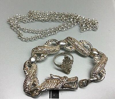 Lot of Sterling Silver Scrap 925 Jewelry Chain,Ring, Dragon Bracelet~Wear/Repair