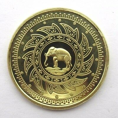 Thailand Gold Plated Buddha Elephant Coins Medal Commemorative Steel Collection