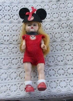 """RARE Vintage 8"""" Mickey Mouse Disney Little Girl Doll Figurine Mouseketeer Club"""