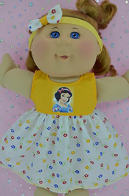 "Play n Wear Doll Clothes To Fit 14"" Cabbage Patch YELLOW/FLORAL DRESS~HEADBAND"