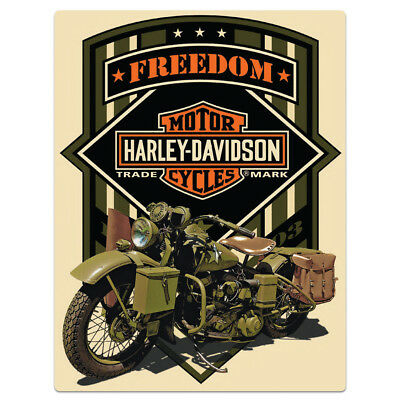 Harley Davidson Freedom Green Military Embossed Tin Sign 13 x 17 Army Motorcycle