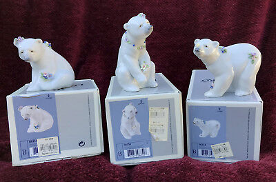 Polar Bear with Flowers set: 6354, 6355 ,6356 with original boxes. RARE