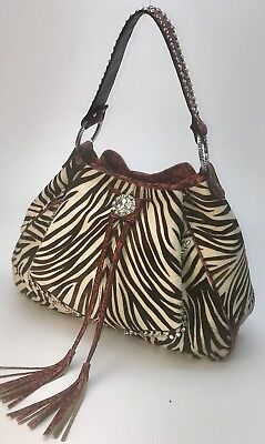 Raviani Baby Zebra Hair on & Red Croco Leather Drawstring Bag  W/ Crystals (USA)