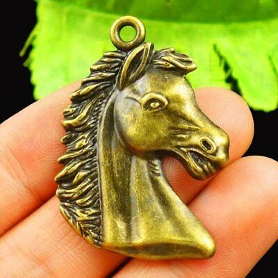 Carved Brass Bronze Horse Head Pendant Bead 40x27x2mm L42561