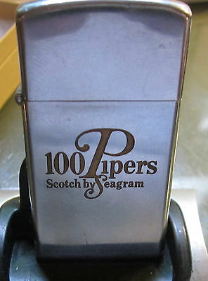 ZIPPO LIGHTER Vintage RARE 1966 slim 100 PIPERS SCOTCH BY SEAGRAMS ADVERTISEMENT