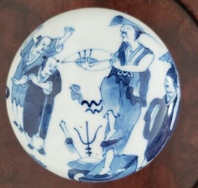 19th Chinese Porcelain Round Box & Cover Military Fan Dance Imperial Soldier