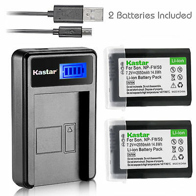 NP-FW50 BC-VW1 Battery & LCD Slim Charger for Sony ILCE-7SM2 Alpha 7S II a7S II