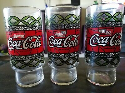 Vintage 1970s Pizza Hut COCA COLA Tiffany Style Tumbler Set of 6Drink Glass New.