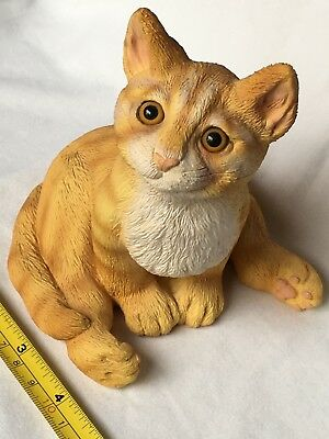 "Creations by Carole Orange Tabby Cat / Kitten Sitting approx 5Wx5.25H"" Resin"