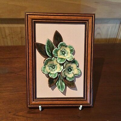 Vintage Padarn pottery Flower picture made in Snowdonia