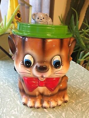 Vintage cookie jar cat feline tie hat Bow Tie porcelain kitchen decor JAPAN