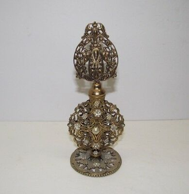 "Vintage Ornate 7 1/2"" Gold Tone Perfume Bottle With Stones Must See L@@K NR"