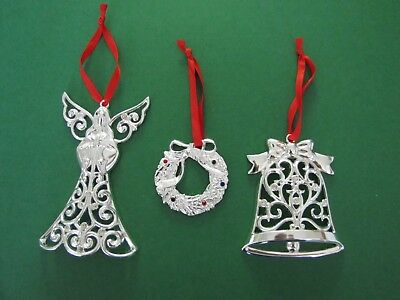 LENOX Silver Plate Christmas Ornaments - Angel, Bell, Wreath - Ex Condition