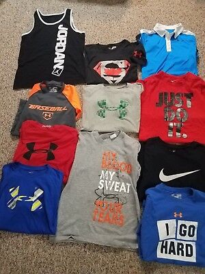 Lot's Of 11 Mixed Shirt Boy's Under Armour Nike & Jordan Size Medium 10/12