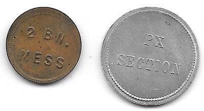 Germany, Unassigned, 2 Bn. Mess & PX Section 1/2 Mk., (2) Military Tokens
