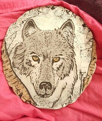 "WOLF PLAQUE made of Mt. St. Helen's ash - ""Shapes of Clay by Stan""  WITH STAND"