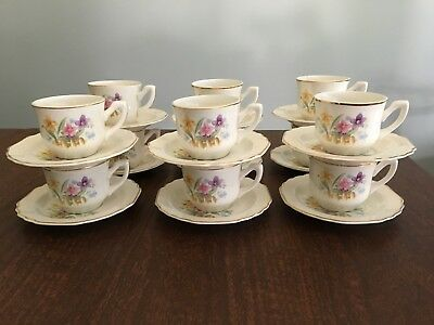 Vintage, W.S. George, Lido, White, Flowers & Fence, 12 Demitasse, Cups & Saucers