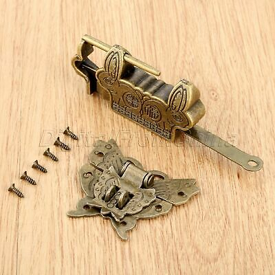 1 Set Antique Bronze Fortune Blessing Padlock Lock Key Butterfly Box Latch Clasp