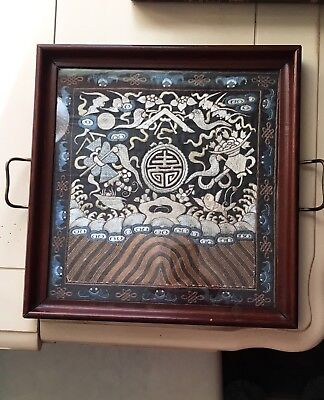 Antique Chinese Pictorial Gold Embroidered Silk Panel Wood Serving Tea ☕️ Caddy