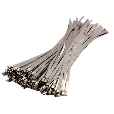 Stainless Steel Marine Grade Metal Cable Ties Zip Tie Wrap Exhaust 100pcs Kit
