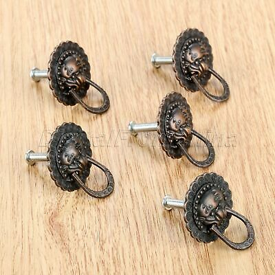 29*37mm Classic Lion Head Furniture Cabinet Knobs Ring Drawer Door Pull Handle