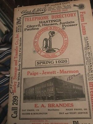 Hastings,Nebraska 1926 Telephone Directory