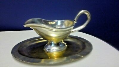 Vintage EPNS Tiny Silver Gravy Boat & Under Tray in a Blue Velvet Case