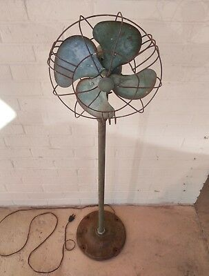 Rare Antique Industrial Signal Pedestal Fan With Art Deco Fins And Base