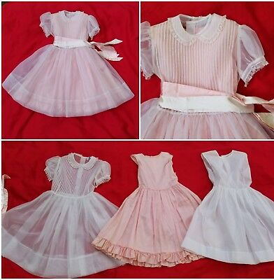 Vintage 1950s Tiny TownTogs Girl sheer organza & 2  slips party full skirt dress