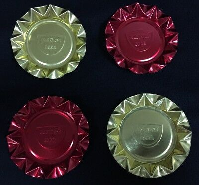 1960s Drewrys Beer Gold Red Ashtrays Lot Of 4