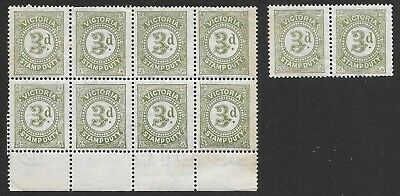 VICTORIA   3d  GREEN  STAMP DUTY  BLOCK of 8 & 2    not perfect-creasing    MUH