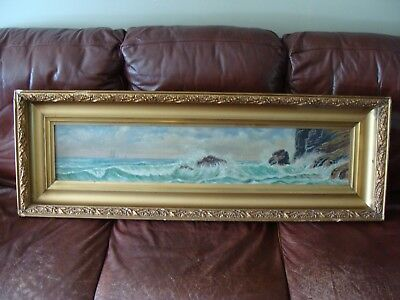 Antique/vintage Seascape W/ships Painting Oil On Canvas Framed Gulbrand Sether?