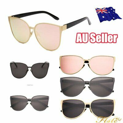 Womens Oversized Large Cat Eyes Style Butterfly Sunglasses Flat Lens Mirrored S4