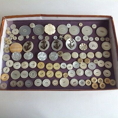 Vtg Lot Of Mother Of Pearl Buttons Large Navy/Anchor Buttons Sets Singles Pairs