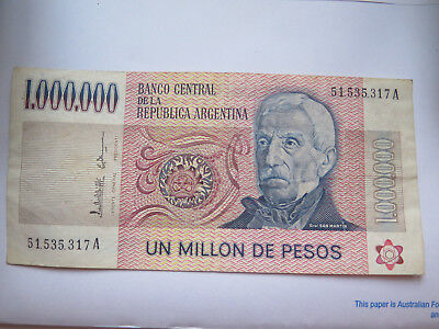 ARGENTINA 1 MILLION PESOS BANKNOTE VERY GOOD but CIRCULATED CONDITION c1990s