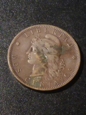 Argentina 1885 2 Centavos in vf to xf condition