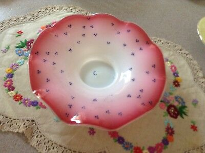 Victorian Cranberry Vaseline Glass Fluted Edge Bowl Postage Is $15