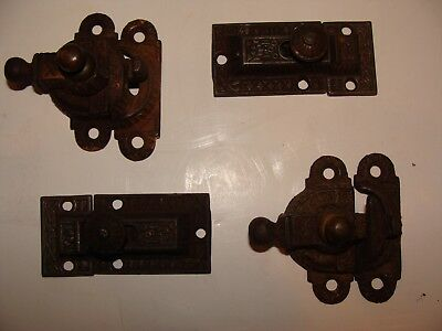 ANTIQUE / VINTAGE CABINET or CUPBOARD LATCHES;2 MATCHING PAIRS CAST IRON &BRASS