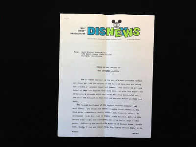 DISNEY NEWS, 7 Pages: Steps in the Making of the Animated Cartoon, RARE! 04/1976