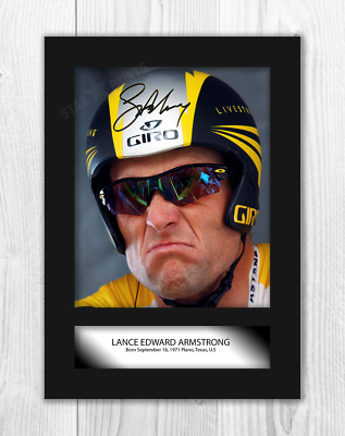 Lance Armstrong A4 signed mounted photograph picture poster. Choice of frame.