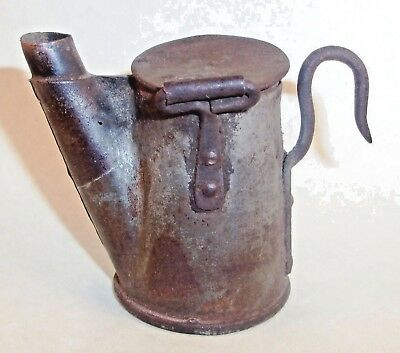 Miners Lamp ~ A ~ Wick Tea Pot Kettle Tin Brass Copper Coal Mining ~ Bygone Era