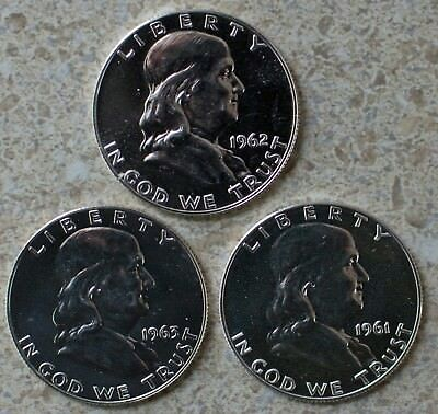 1961 1962 1963 Silver Proof Franklin Half Dollar 3-Coin Lot Three 50 Cents Coins